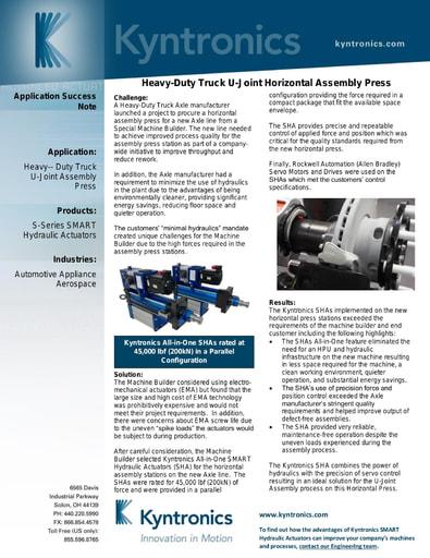 Heavy Truck U-Joint Assembly Press