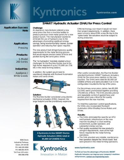 SMART Hydraulic Actuator SHA for Press Control