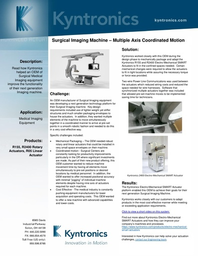 Surgical Imaging Machine Actuation System